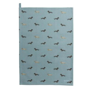dackel tea towel